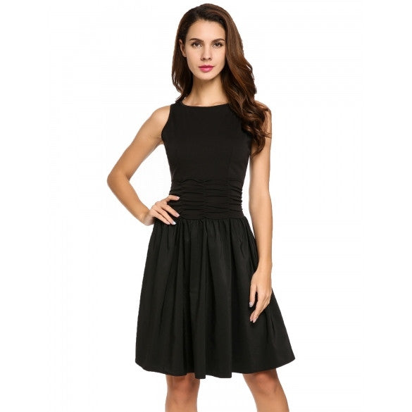 Women Sleeveless V-Back Ruched Waist Cocktail Party Skater Dress