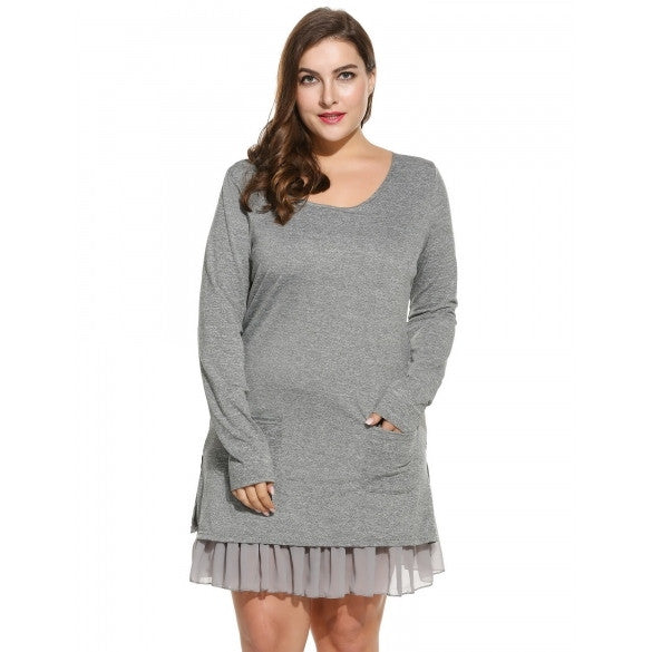 Women Casual Plus Sizes Long Sleeve Chiffon Lining Ruffle Hem Short T-Shirt Dress