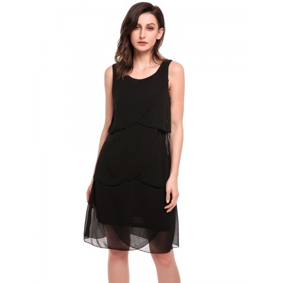 Women Fashion Sleeveles Ruffle Layered Chiffon Short Dress