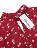 Women Fashion Stand Collar Key Hole Short Flare Sleeve Floral Print A-Line Short Dress