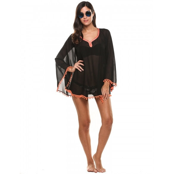 New Women Casual Sunscreen V-Neck Solid Slim Contrast Color Beach Bikini Cover-up