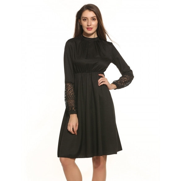 Women Vintage Style Crochet Lace Long Sleeve Keyhole Back High Waist Evening Party A-Line Dress
