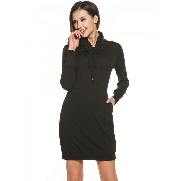 Women's Drawstring Turtleneck Long Sleeve Solid Casual Bodycon Pockets Dress