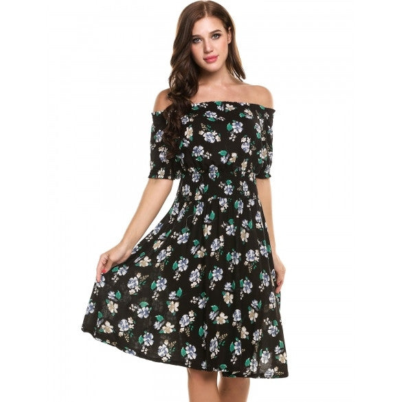 Casual Short Sleeve Summer Print Off Shoulder Pullover Tunic Swing Dress