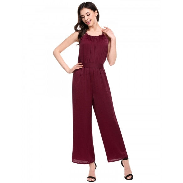 Women Sleeveless Spaghetti Strap Solid Wide Leg Long Cami Jumpsuit Overall With Belt