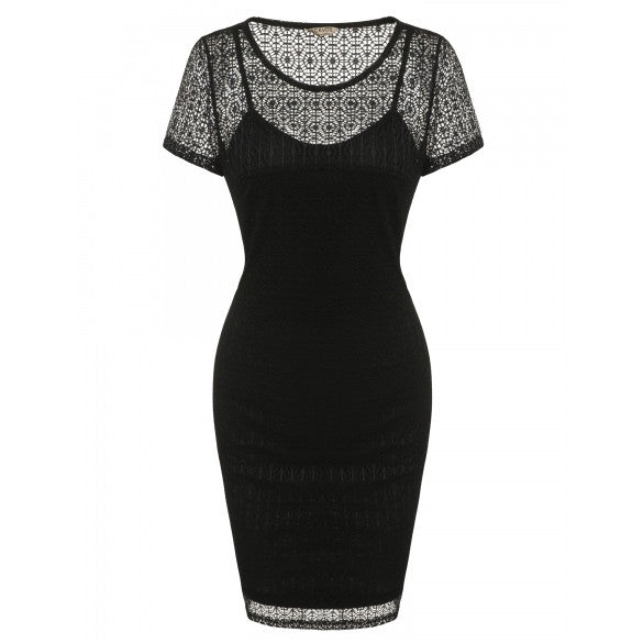 Women Fashion Short Sleeve Hollow Lace Solid Slim Bodycon Pencil Dress