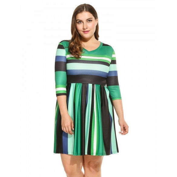 Women Casual V-Neck 3/4 Sleeve Printing Mini Pleated Dress