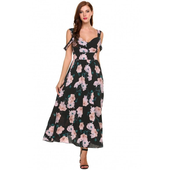 New Women Casual V-Neck Sleeveless Floral Prints Backless Pleated Hem Maxi Dress