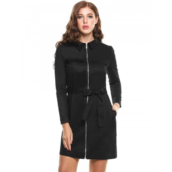 Casual Turn Down Collar Long Sleeve Solid Zip-up Front Pocket Trench Coat With Belt