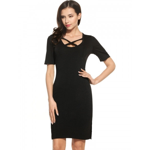 Women Casual Short Sleeve Solid O Neck Slim Pencil Dress