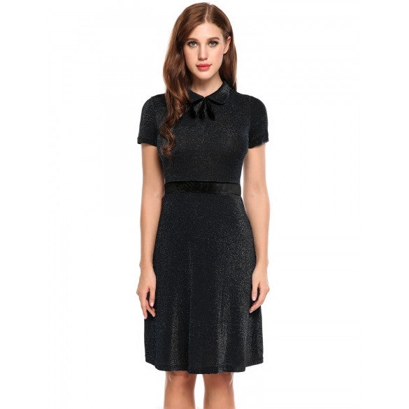 Women Peter Pan Collar Bow Short Sleeve Glitter Cocktail Party A-Line Dress