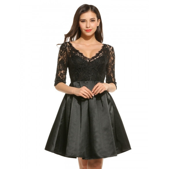 New Women Casual V-Neck Half Sleeve Floral Lace Pleated Dress