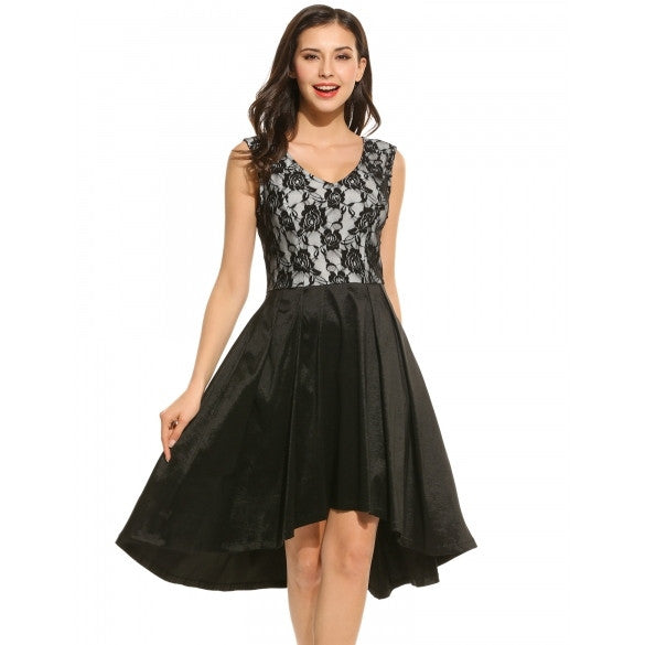 Casual Sleeveless Lace V Neck Patchwork Vintage Style Swing Dress