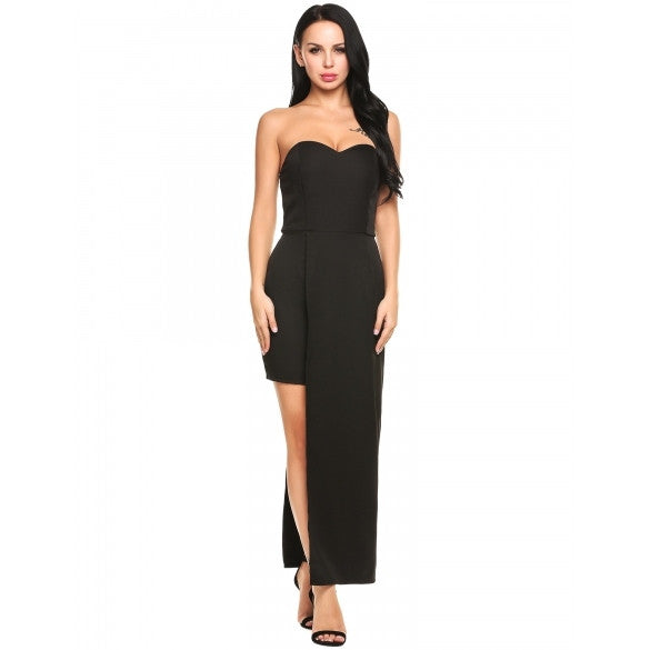 Women Sexy Strapless Off Shoulder Padded Solid Asymmetrical Bodycon Maxi Dress