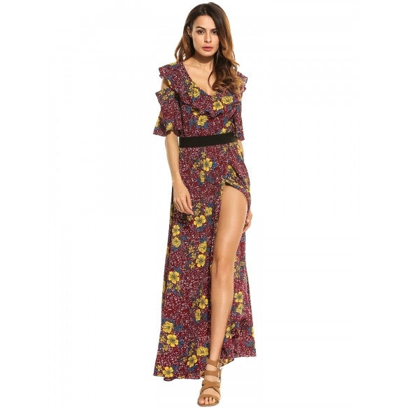 Women V-Neck Cold Shoulder Flare Sleeve Floral Split Long Maxi Party Beach Swing Dress