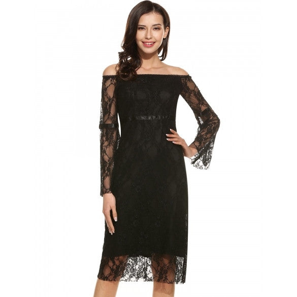 Women Casual Long Sleeve Lace Patchwork Off Shoulder Pencil Dress