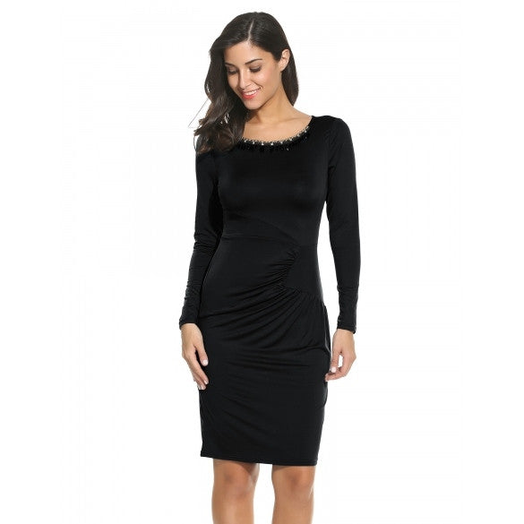 Women Casual Long Sleeve Solid O Neck Tunic Pencil Dress