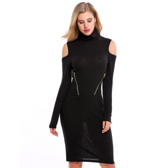 Women Turtleneck Cold Shoulder Long Sleeve Zip Bodycon Sweater Dress