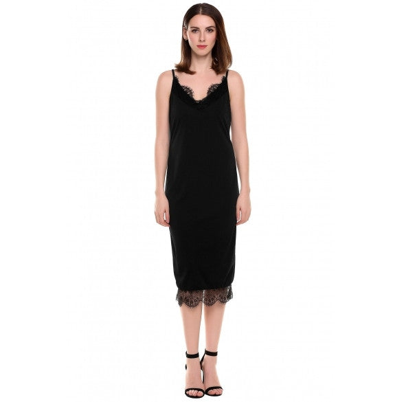Women Fashion Strap V-Neck Sleeveless Slim Lace-Trimmed Pencil Bodycon Dress