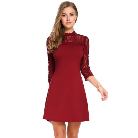 Women 3/4 Sleeve Lace Patchwork Cocktail Party Slim A-Line Dress