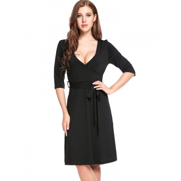 New Women Casual Cross V-Neck Half Sleeve Solid A-Line Pleated Hem Elastic Dress