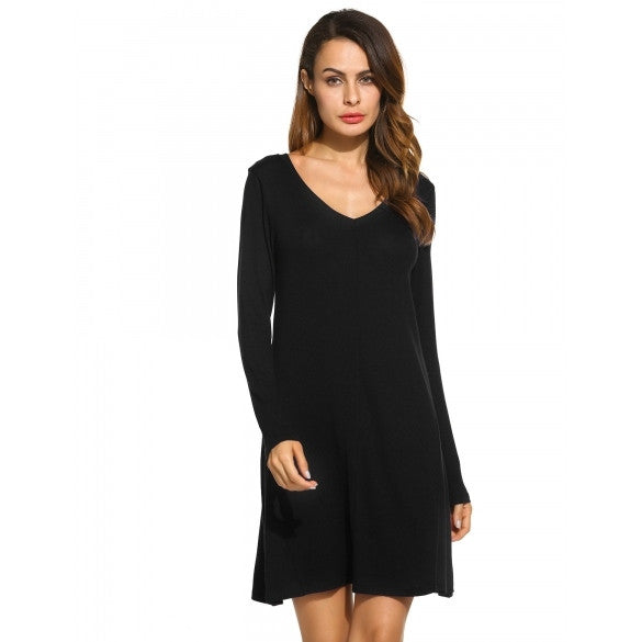 New Women Casual V-Neck Long Sleeve Solid Loose Dress