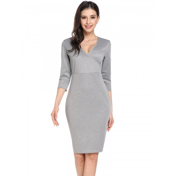 New Women Sexy Cross V Neck Three Quarter Sleeve Solid Back Split Slim Dress