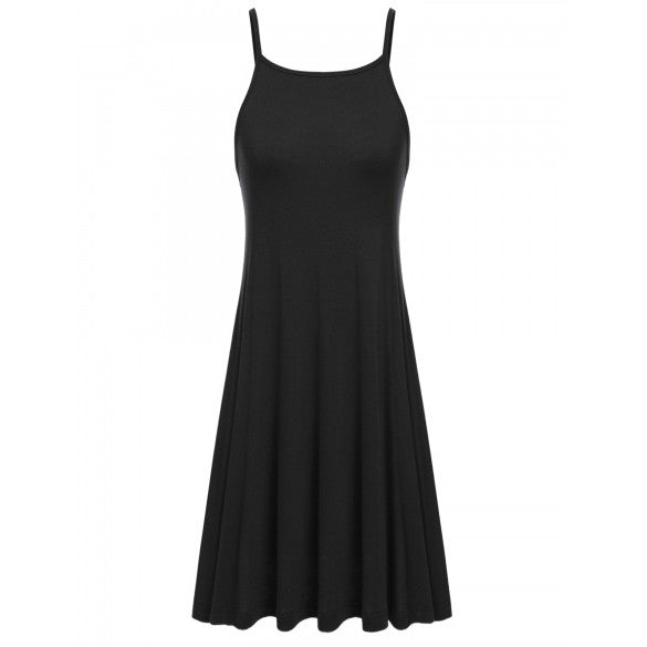Women Casual Square Collar Solid Back V Neck Cross-Strap Elastic Pleated Hem Spaghetti Straps Dress Cami Dress