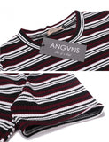 Women Casual Slim Fit Short Sleeve Striped Sweater Dress