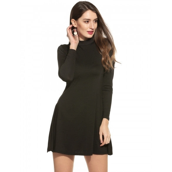 Women Fashion Stand Collar Long Sleeve Backless Solid A-Line Mini Short Dress