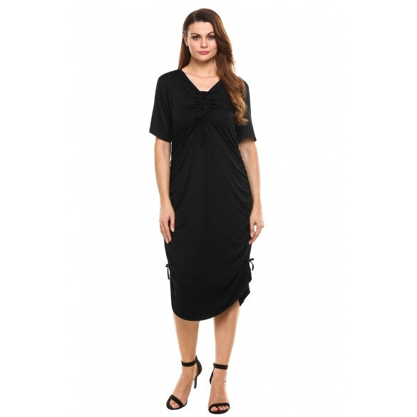 Drawstring V-Neck Short Side Ruched Dress