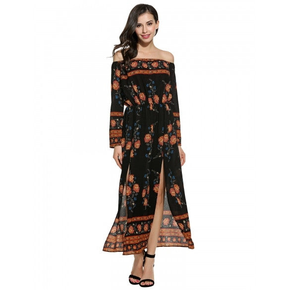 3d0c3d2a0930 Women Sexy Long Sleeve Floral Print Off Shoulder Pullover Maxi Dress –  Sheinchic.com
