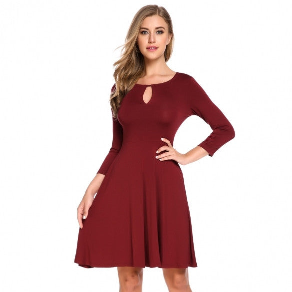 Women 3/4 Sleeve Keyhole Solid Casual Slim Fit And Flare Dress