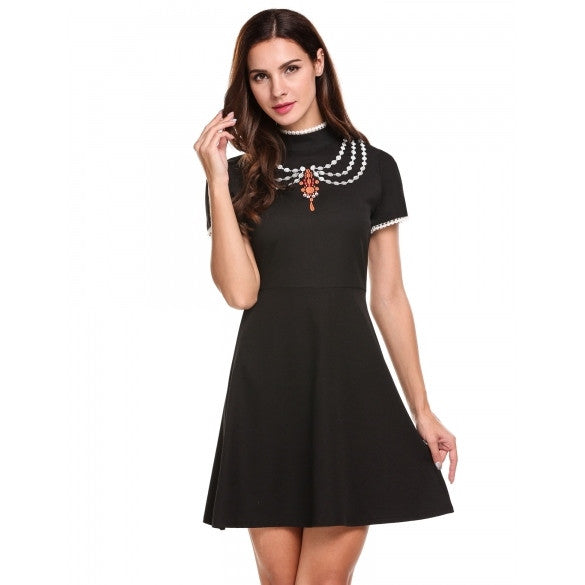 Women Casual Short Sleeve Lace Embroidery Patchwork Dress