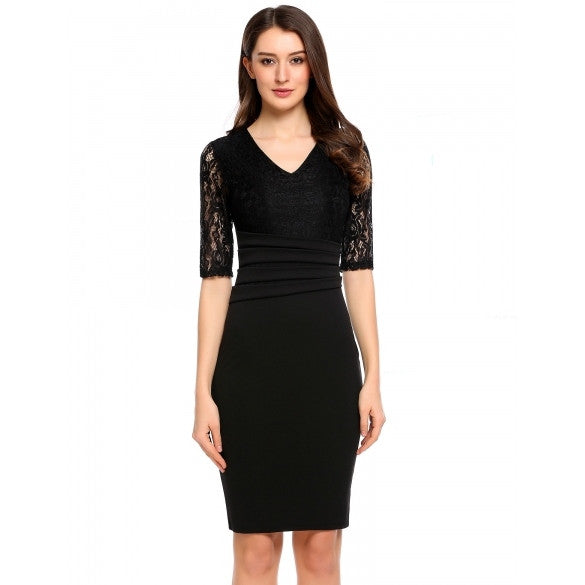 Women Fashion V-Neck Half Sleeve Solid Lace Pencil Dress
