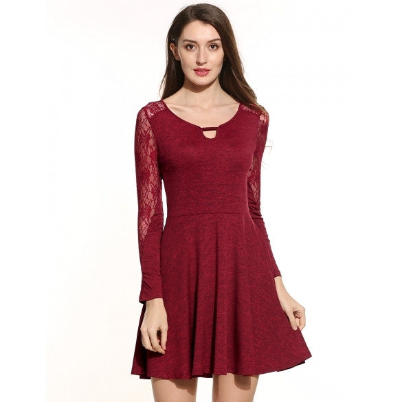 Women Casual O-Neck Long Sleeve Lace Patchwork Hollow Out Pleated Pullover Elastic Dress
