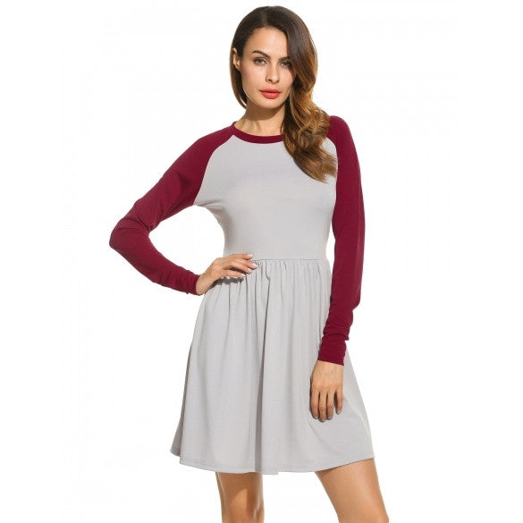 Women O-Neck Raglan Sleeve Patchwork Fit And Flare Casual Dress