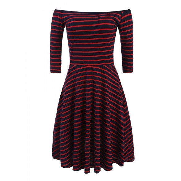 Women's Off Shoulder 3/4 Sleeve Striped Casual Pleated Dress