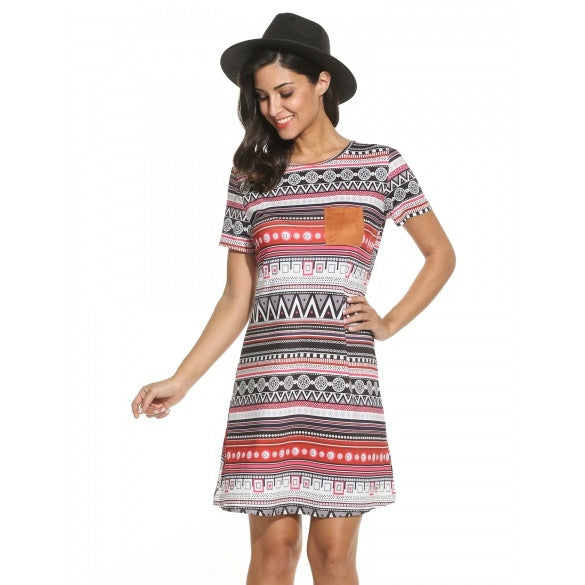 Women Casual O-Neck Short Sleeve Print Loose Mini Dress