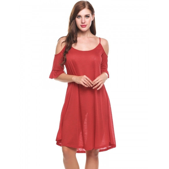 New Women Casual O-Neck Half Flare Sleeve Off Shoulder Solid Pleated A-Line Hem Spaghetti Straps Dress Cami Dress