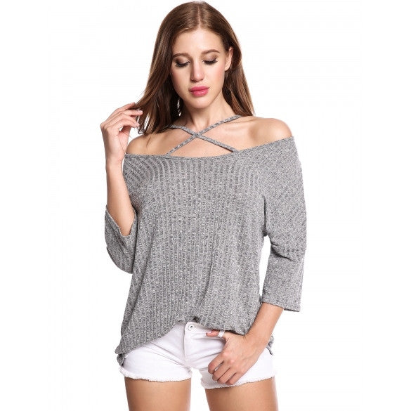 Women Casual Slash Neck Three Quarter Sleeve Solid Elastic Front Cross Adjustable Spaghetti Straps Off Shoulder Knit Top