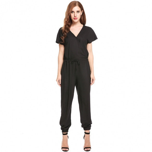 Women Casual Front Cross V Neck Short Batwing Sleeve Solid Loose Jumpsuits
