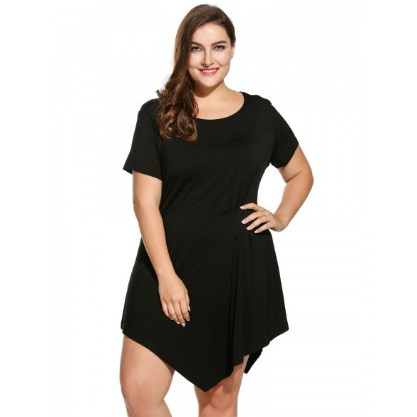 Women Plus Sizes Short Sleeve Solid Draped Front Asymmetrical Short Dress
