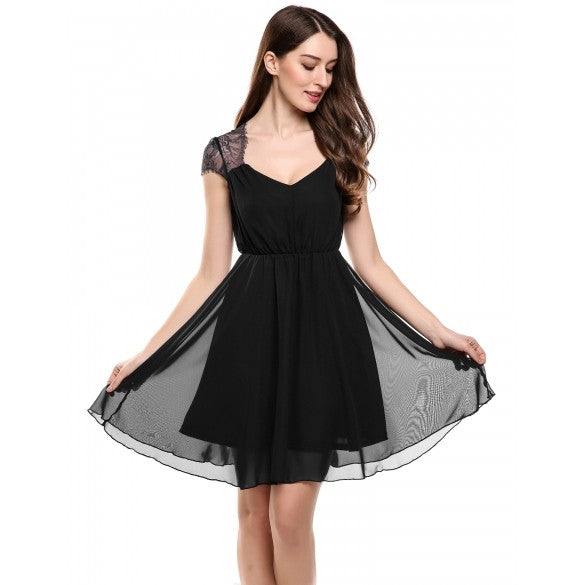 Women V-Neck Cap Sleeve Floral Lace Casual Chiffon Pleated Dress
