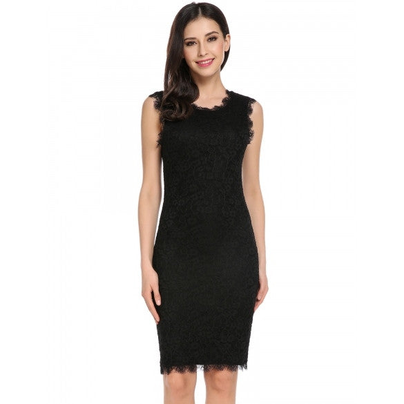 Women Casual Sleeveless Lace Patchwork O Neck Pullover Pencil Dress