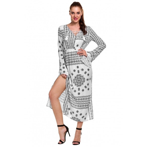 Women Front Lace Up V-Neck Flare Long Sleeve Print Split Full Length Dress