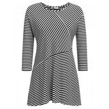 Women Plus-Size Casual Striped Three Quarter Sleeve O Neck Asymmetrical Tee Loose Pullover Knit Top T-Shirt