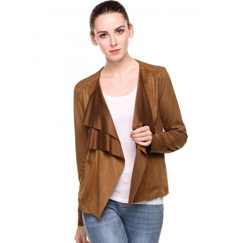 Casual Turn Down Collar Vintage Lightweight Open Stitch Faux Suede Long Sleeve Solid Coat