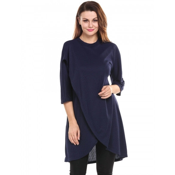 New Women Casual O-Neck Three Quarter Sleeve Solid Fross Cross Asymmetrical Hem Pullover Elastic Knit Top