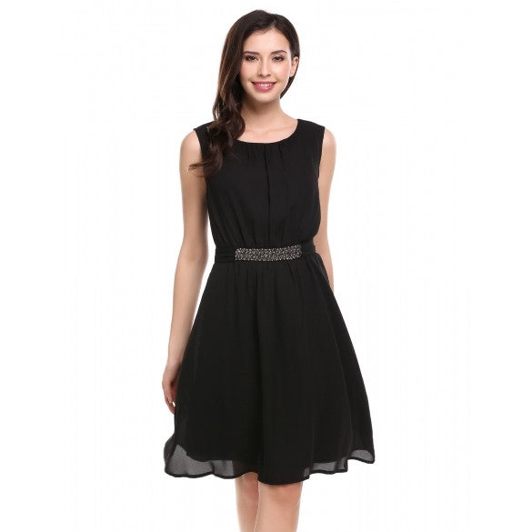 Women Summer Sleeveless Beading Belted Casual Pleated Dress